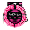 Ernie Ball E6083 - Braided Instrument Cable 18' S/A - Neon Pink