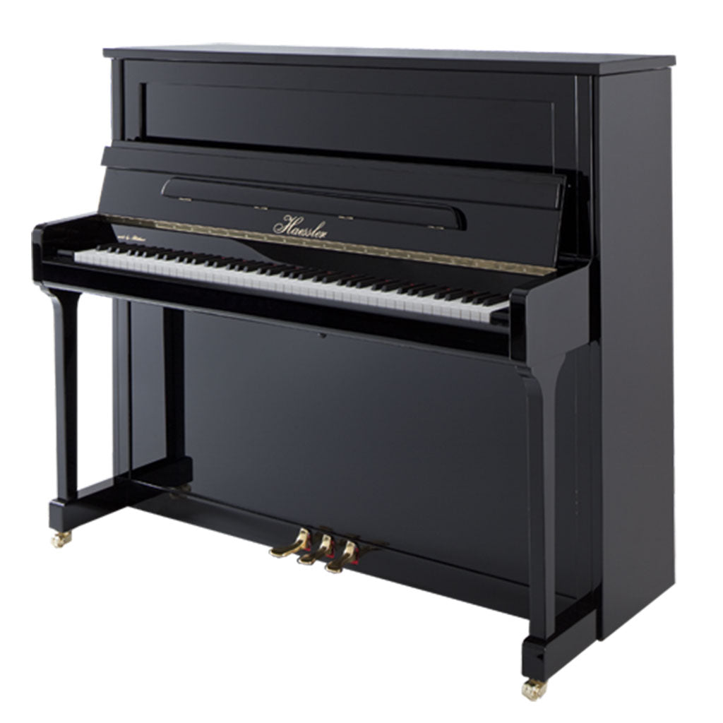 Haessler - H124 Upright Piano - Ebony Polish