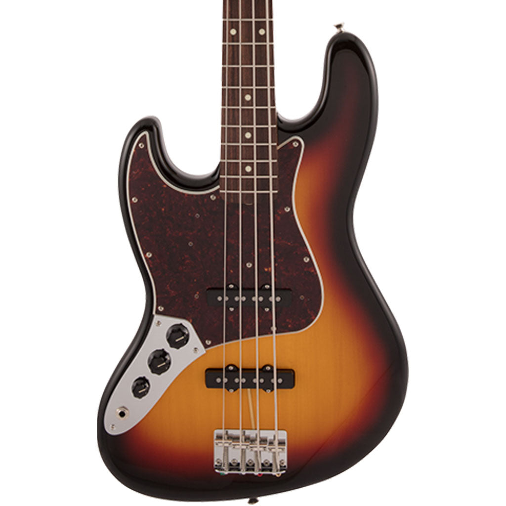 Fender Japan Traditional 60's Jazz Bass Left Handed - 3 Tone Sunburst - Rosewood Fretboard