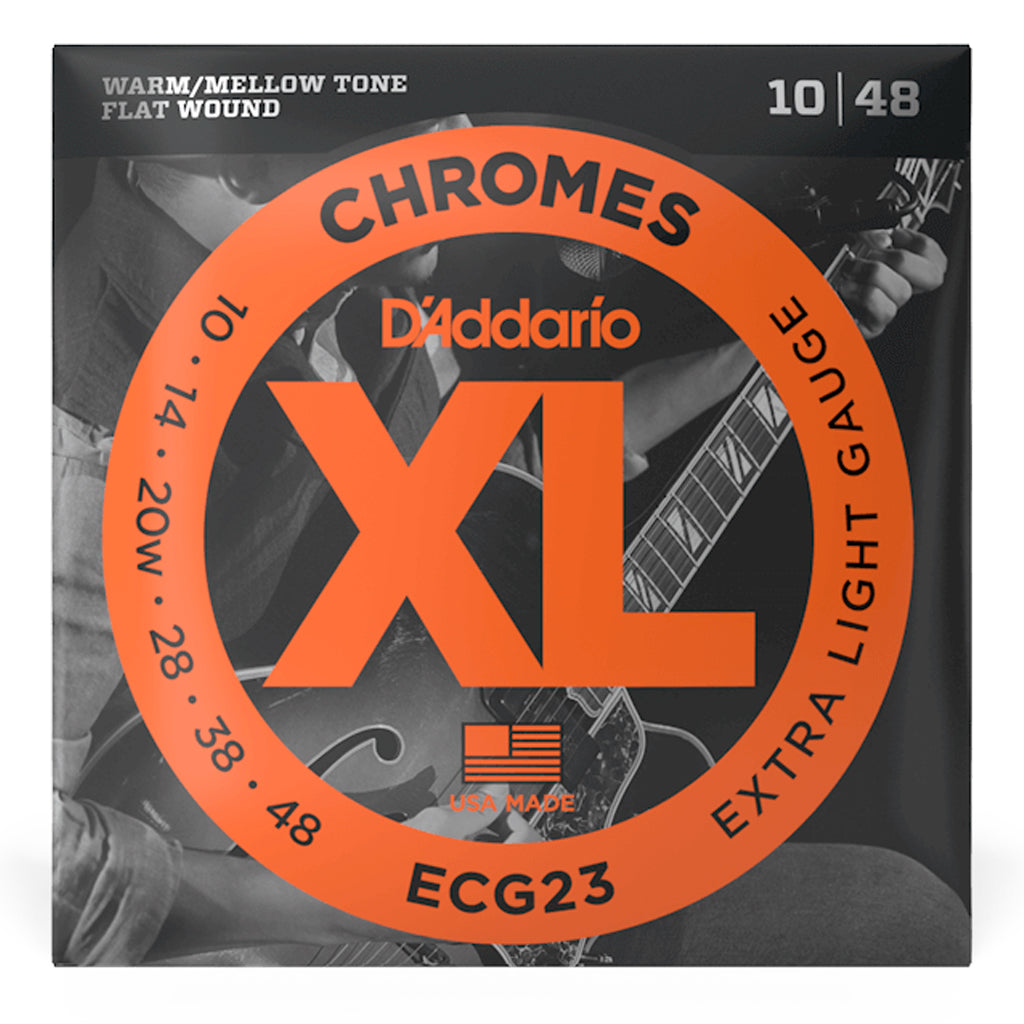 D'Addario - ECG23 Chromes Flatwound Electric Strings -.010-.048 Extra Light