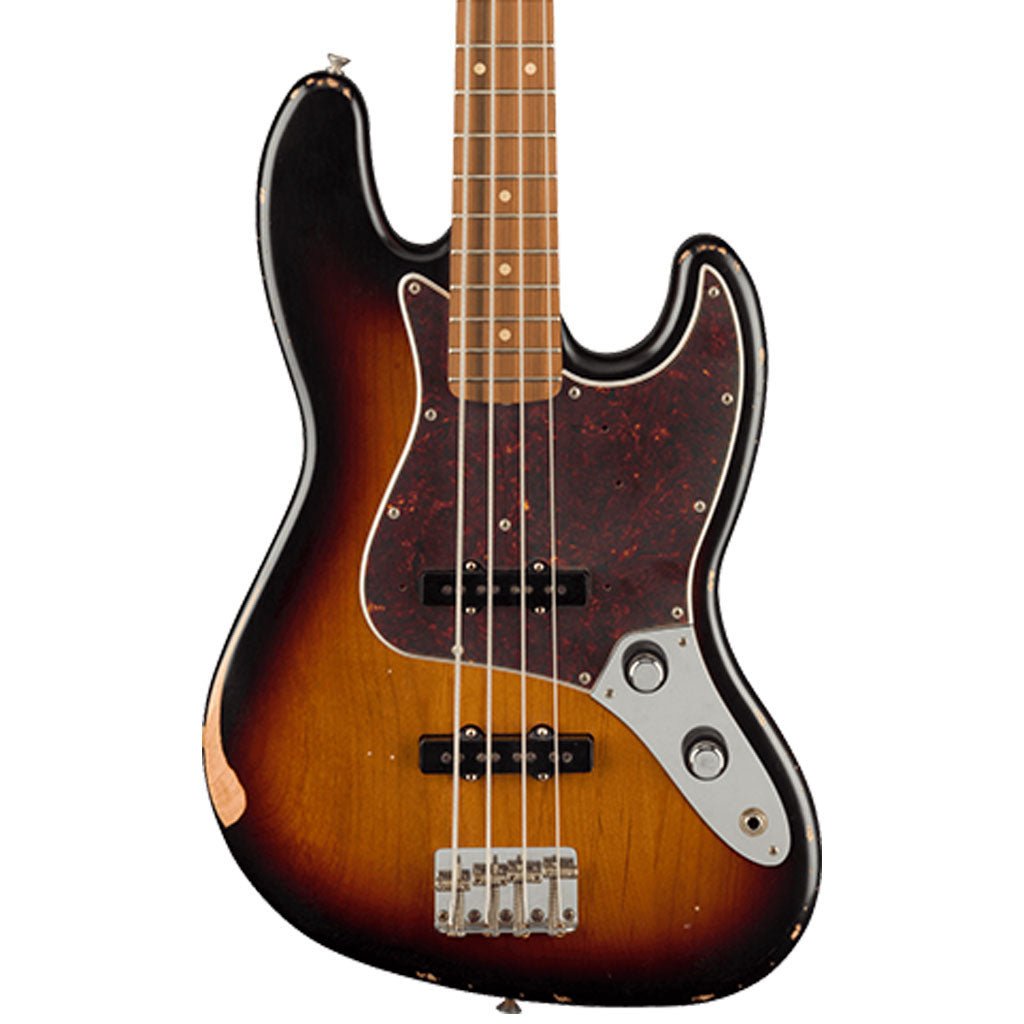 Fender 60th Anniversary Road Worn 60's Jazz Bass - 3 Tone Sunburst - Pau Ferro