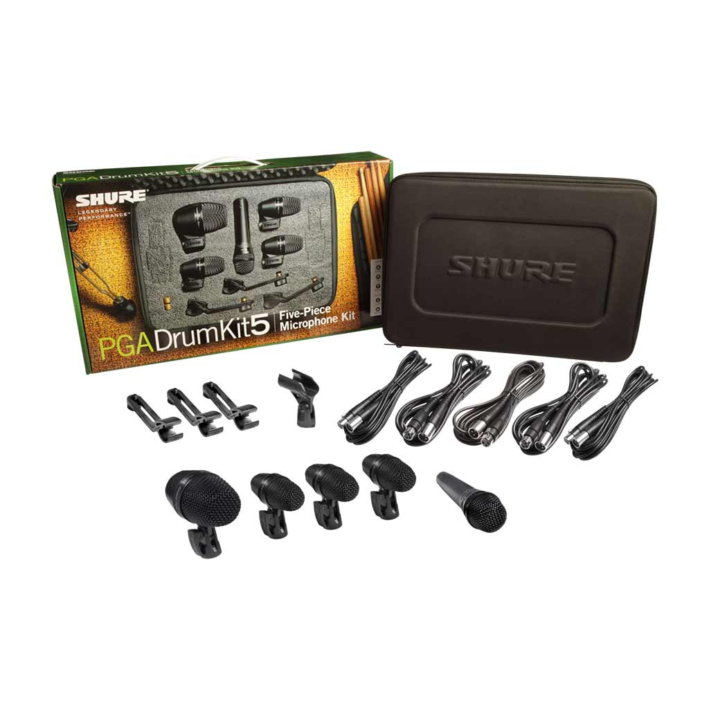Shure - PGA 5 Pce - Drum Mic Kit - 1x PGA52, 3x PGA56, 1x PGA57, Cables & Carry Case