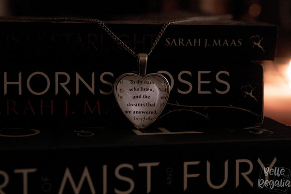 Rhysand & Feyre quote ~ heart necklace
