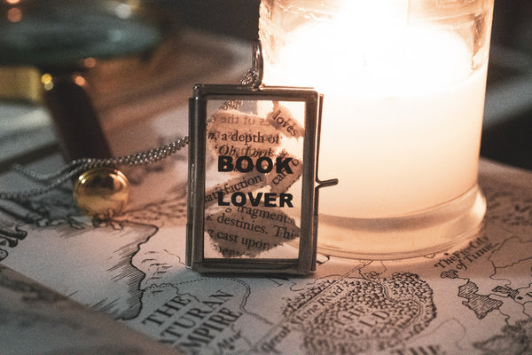 Book Lover glass frame necklace