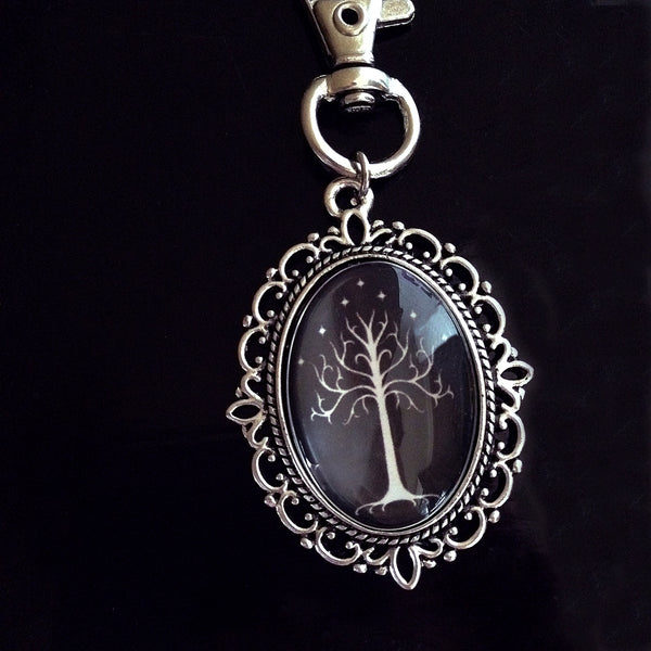 White Tree of Gondor Keyring (black background) - Belle Regalia - 2