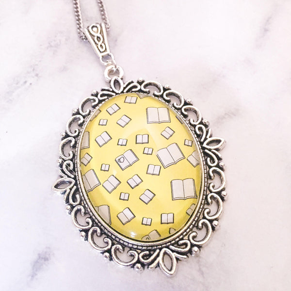 Yellow Flying Books Necklace