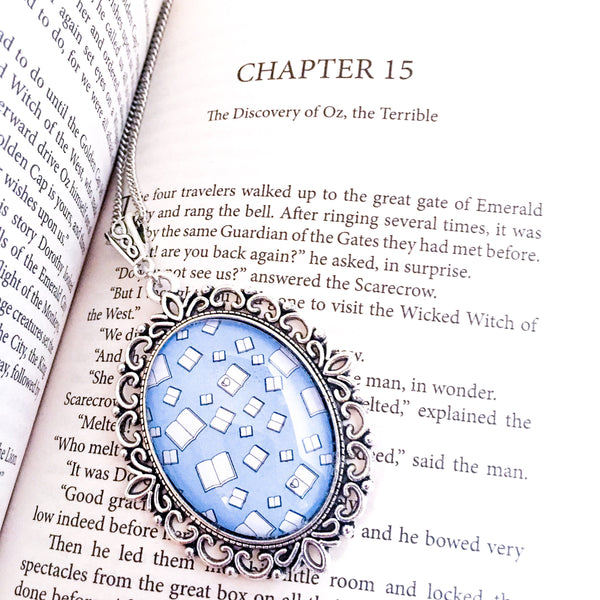 Blue bookish necklace - flying books - Belle Regalia