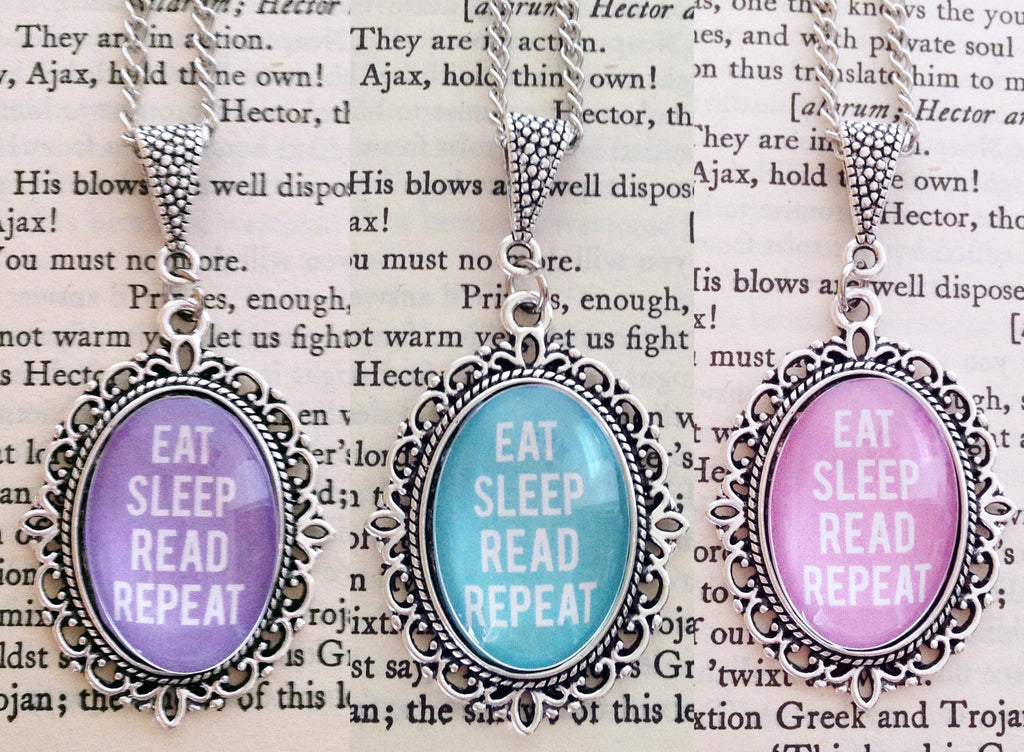 Eat Sleep Read Repeat 18x25mm Necklace - Bookish Pendant Necklace - Belle Regalia
