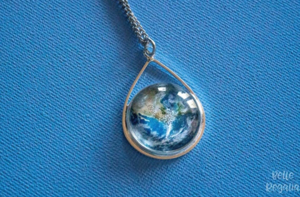 Save our Planet Earth - Teardrop pendant necklace