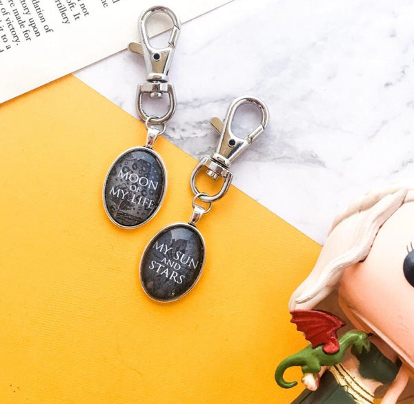 Game of Thrones Anniversary Couple Gift Idea - Sun and Stars Keyring - khaleesi and khal drogo moon life keychain