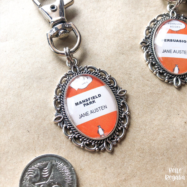 Jane Austen book cover keyring or necklace