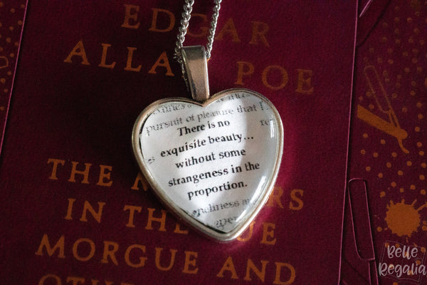 Edgar Allan Poe quote ~ heart necklace