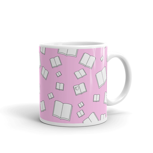 Pink Flying Books Mug