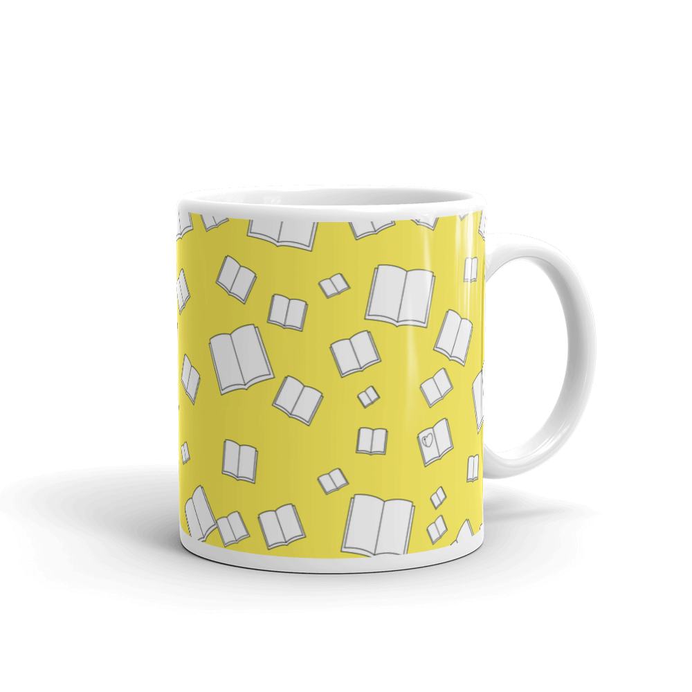 Sunny Yellow Flying Books Mug