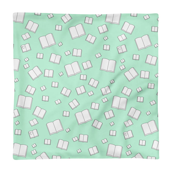 Mint Green Flying Books Square Pillow Case only