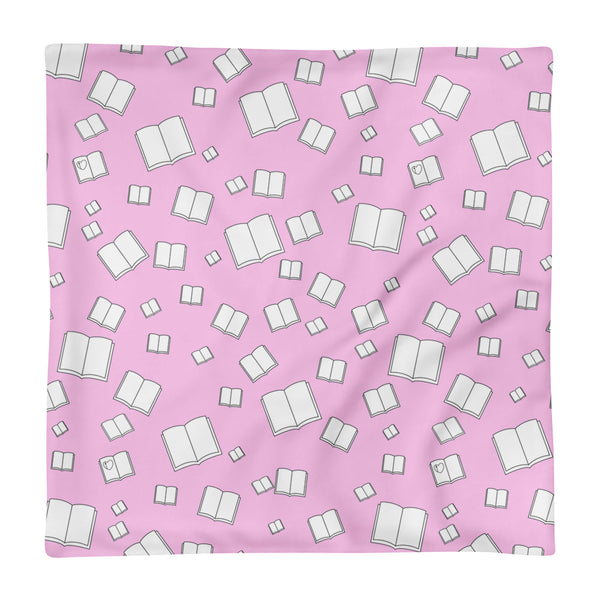 Pink Flying Books Square Pillow Case only