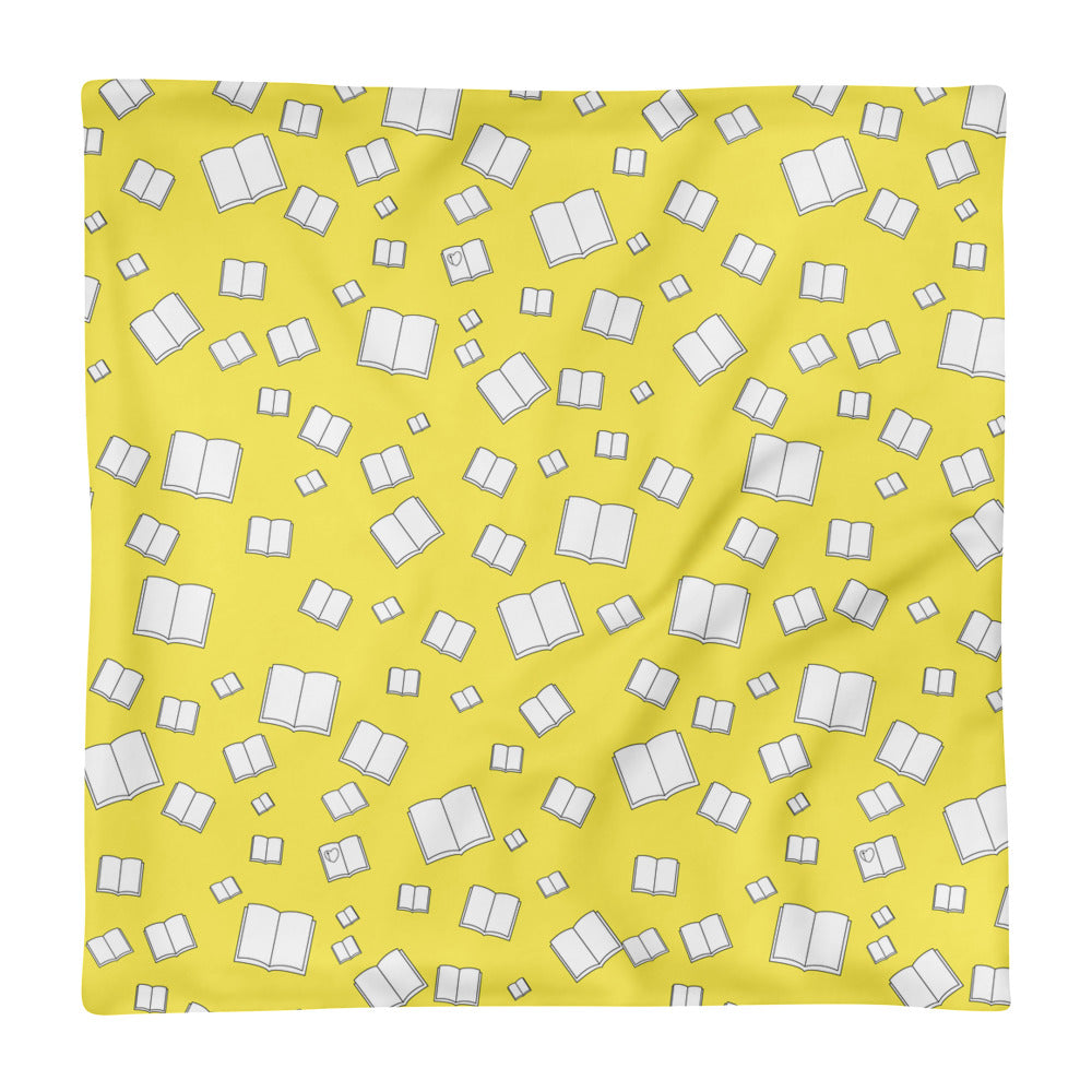 Yellow Flying Books Square Pillow Case only