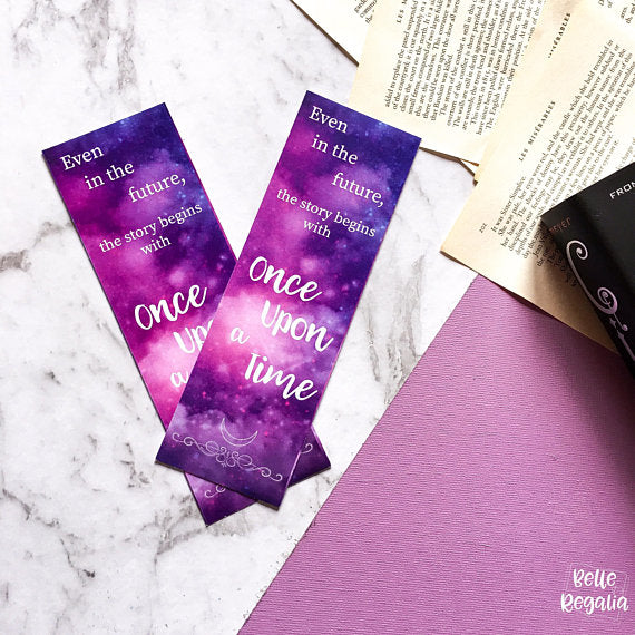 The Lunar Chronicles bookmark - Even in the future, the story begins with Once Upon A Time