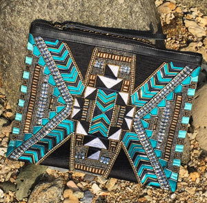 PRAVIN Clutch in Teal Filipiniana