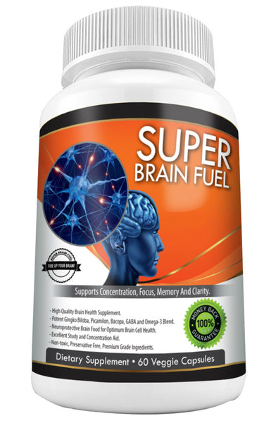 Super Brain Fuel – Gingko Biloba, Omega 3, Bacopa, GABA, Huperzine-A  60's - Super Brain Fuel Smart Shop