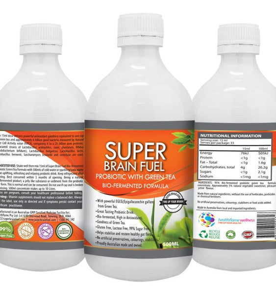 Super Brain Fuel – Bio-Fermented Probiotic Liquid Concentrate With Green Tea. 500ML