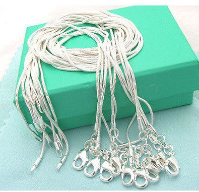 5pcs Silvery Snake Chain Necklace 16-24 Inch 1.2mm Jewelry Gift