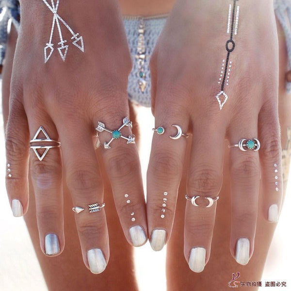 6PCS Vintage Turkish Beach Punk Moon Arrow Ring Set Ethnic Carved Silver Plated Boho Midi Finger Ring Knuckle Charm chicboho