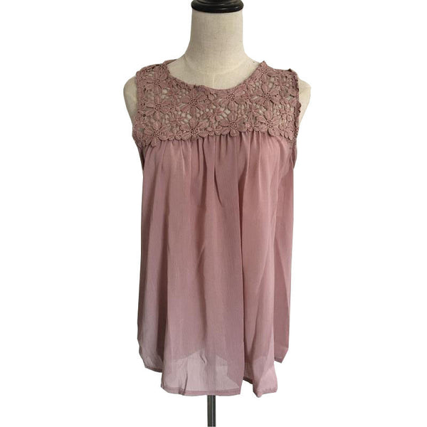 Women's Plus Size Summer Sleeveless Crochet Casual Tops - Pink/Coffee