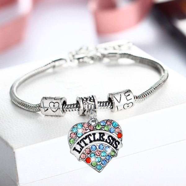 Women Jewelry Crystal Daughter Silver Rhinestone Bracelet Heart Love Chain Necklace