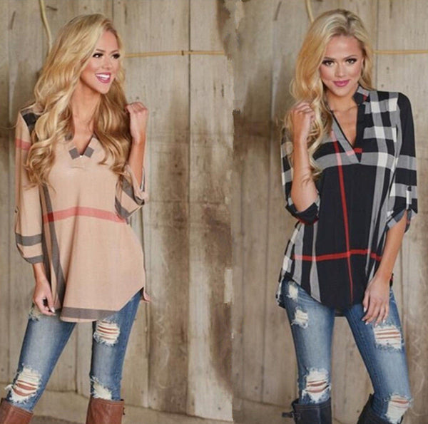Sexy V Neck Tops Tee Plaid Shirt Three-quarter Sleeve Blouse