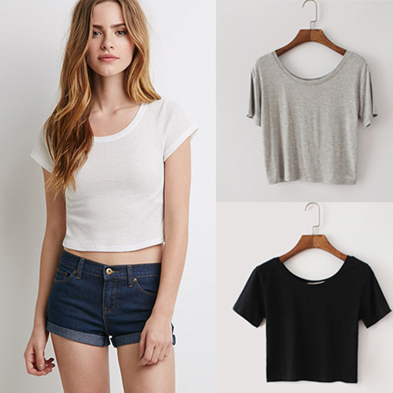 Summer Short Sleeves 0-Neck Cropped Top - White/Black/Grey