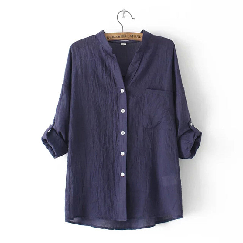 Ruched Folded Sleeve Chiffon Blouse - Navy Blue/White/Green/Coffee