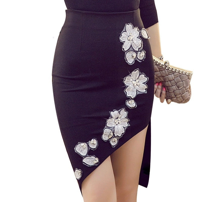 High Waist Pencil Bodycon Skirt - Red Black