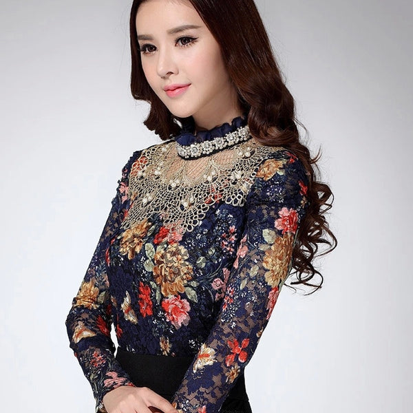 Lace Beading Body Shirts - Blue
