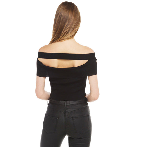 One shoulder Tee - Black/White