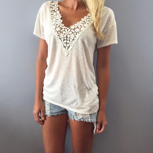 Summer Lace Vest Top Blouse Fashion Tank Tops - White