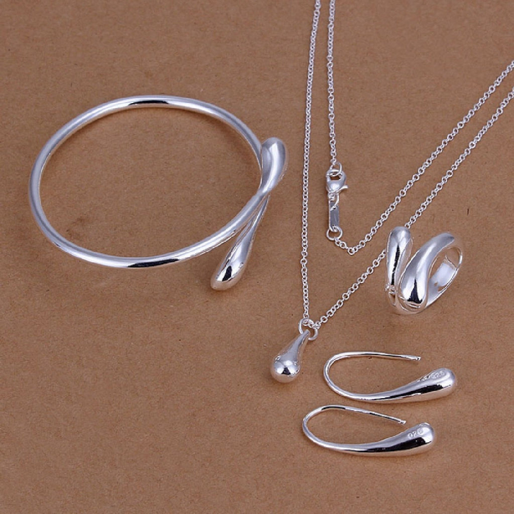 Wedding Fashion 925 Silver Plated Jewelry Set Big Hand Chain Bracelet Necklace Ring Hook Oval Earings Eardrop Water Drop