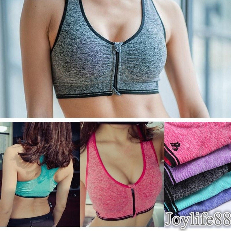Women's Zip Sports Bra Wirefree Yoga Bras Tank Top Zip Shakeproof High Intensity Push Up