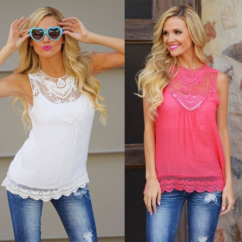 Summer Loose Casual Chiffon Lace Sleeveless Vest - 4 Colour