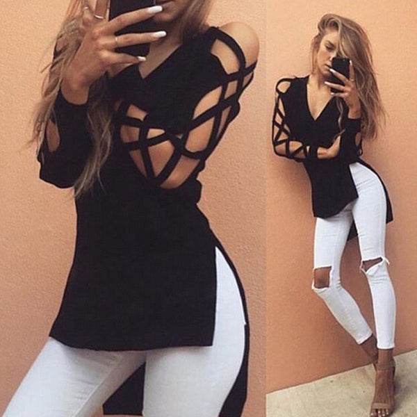 Women Deep V Cross Strap Long-sleeved  Split T-shirt - 5 Colours
