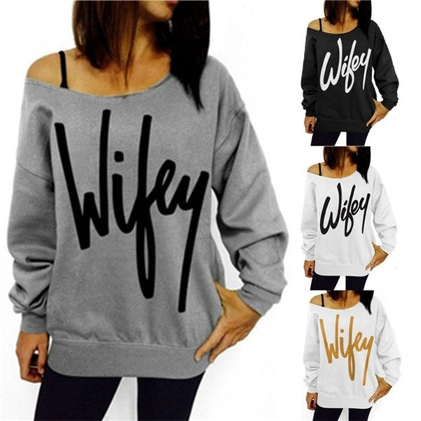 Autumn Wifey Print Women's Off Shoulder Long Sleeve Sweatshirt