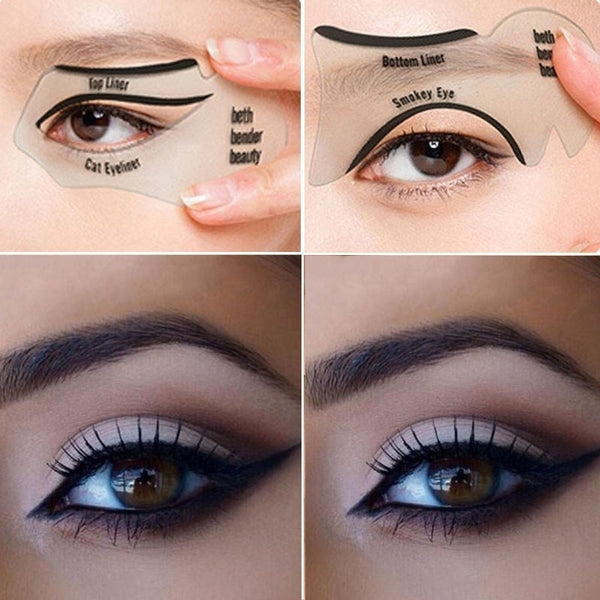 2 Set of 4pcs women's fashion videos smoky cat eye makeup eyeliner Beauty Tools - Black