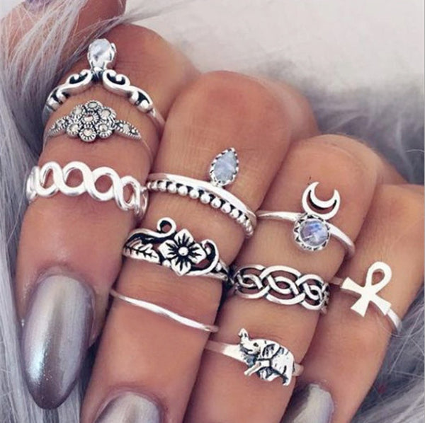 10PC/Set Punk Vintage Knuckle Rings Tribal Women