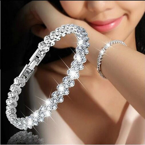 Jewelry Roman sterling silver New Fashion Roman Style Woman 925 Sterling Silver Crystal Diamond Bracelets Gifts