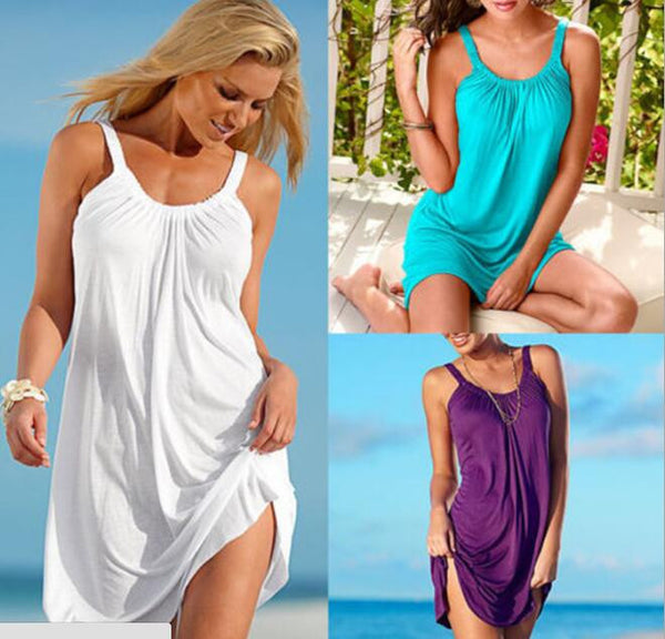 Women's Fashion Summer Sleeveless Loose Beach Dress Short Casual Dress - 5 Colour