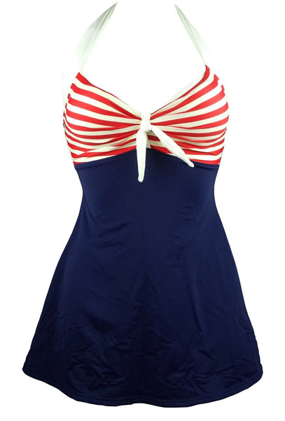 Vintage Sailor Pin Up Swimsuit One Piece Skirtini Cover Up Swimdress