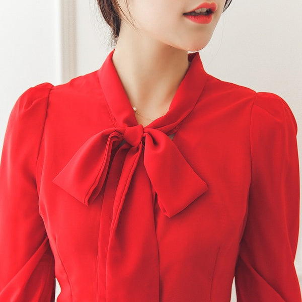 Ruffles Bow Tie Swallow-Tailed Blouses - Red/Green/White