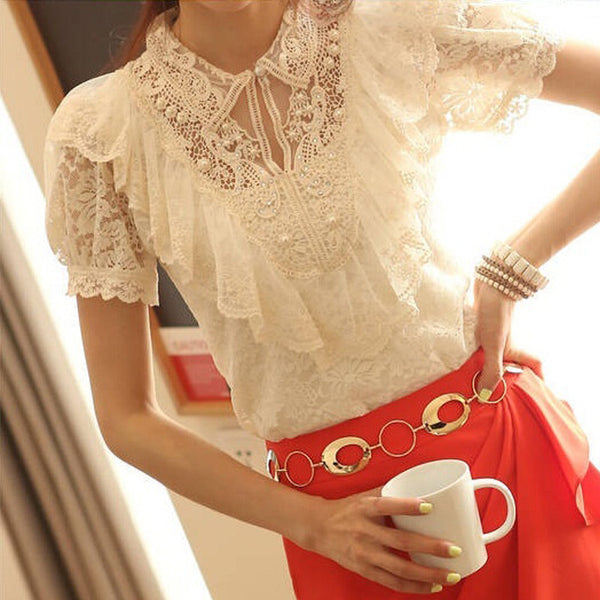 Ruffle And Beading Short Sleeve Lace Blouses - White