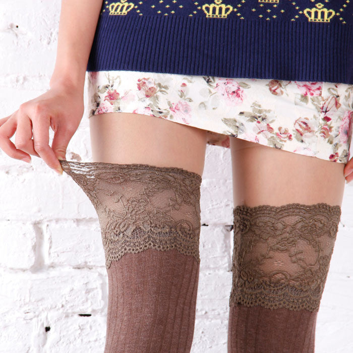 4c017e413b9 ... Women Knitting Lace Cotton Over Knee Thigh Stockings High Socks  Pantyhose Tights ...