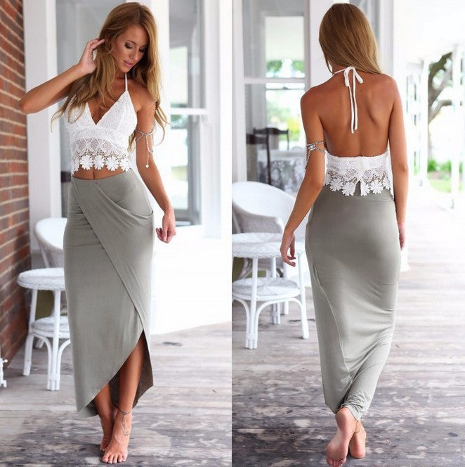Outfit Lace Halter Backless Cropped Top Halter Bodycon Wrap Maxi Skirt Set - White